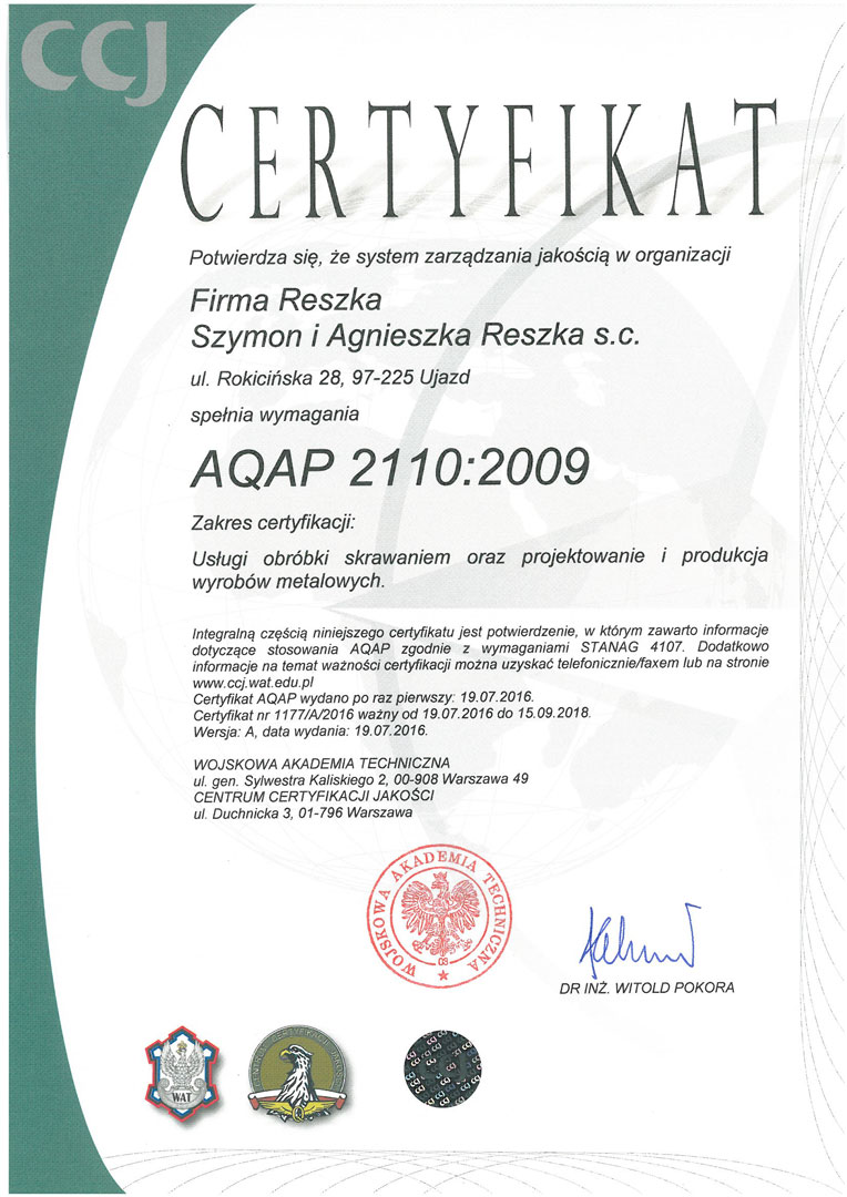 Certyfikat-AQAP-2110-2009